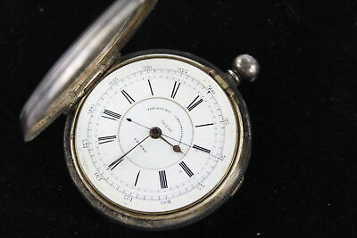 Antique .925 STERLING SILVER Improved Chronograph POCKET WATCH Key-Wind WORKING