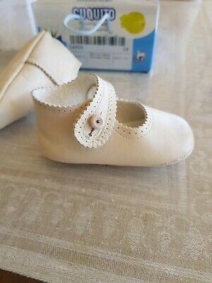 CUQUITO Ivory Leather Prewalker Shoes Size 18