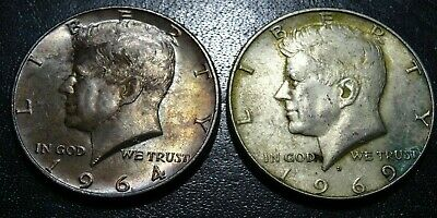 Lot 2  KENNEDY SILVER HALF DOLLAR Coins 1964 1969D JFK Collection HEAVILY TONED