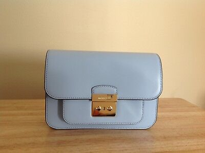 8bfc9857cc58 Michael Kors Sloan Editor Large Smooth Leather Shoulder Bag Pale Blue Gold  NWT