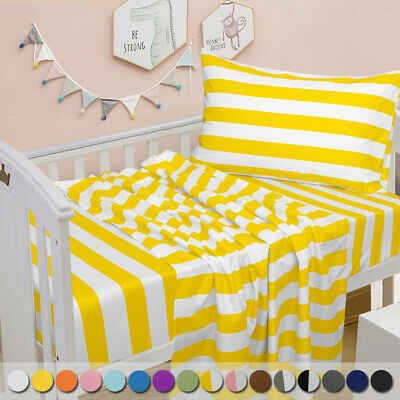 Ultra Soft Cozy Luxury Microfiber Toddler Fitted Sheet Flat Sheet Pillowcase 3pc