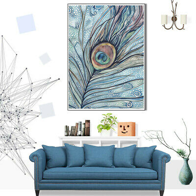 Canvas Painting Feather Picture Poster Living Room Bedroom Wall Art Home Decor
