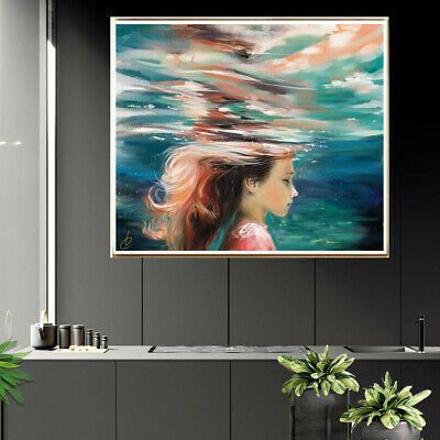 Girl Underwater Canvas Painting Poster Living Room Bedroom Wall Home Art Decor