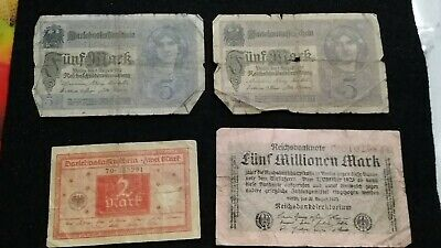 4 Old   German Empire Banknotes    Old Note       # 27