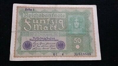 1919  50 Mark  German Empire Banknote    100 Year Old Note       # 652
