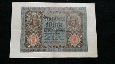1920  100 Mark  German Empire Banknote     Old Note       # 654