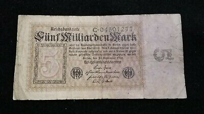 1923  5 million  MARK  GERMAN EMPIRE BANKNOTE    OLD NOTE       # 46