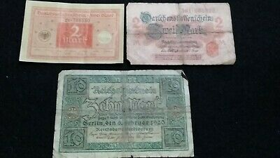 3 Old   German Empire Banknotes    Old Note       # 29