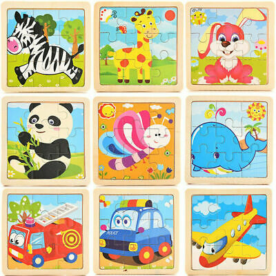 9Pcs/Set Kids Baby Animals Wooden Puzzle Jigsaw Early Learning Educational Toys