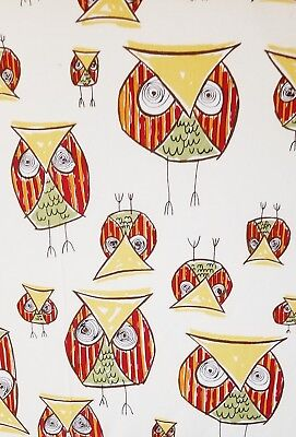 Crib Sheet, Crazy Owls!!! Cotton, Cream with Owls in Red, Green and Yellow