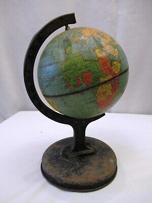 Vintage Reliable Series Tin World Globe Made In England Litho Print Collectibles