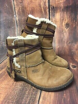 37740d9d9b4 UGG COVE 5136 Brown Leather Shearling Lined Winter Ankle Boots Women's  Size: 7
