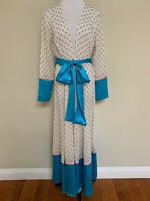 ffba8515b67 NWT We Are Leone Mykonos Gold Dot Silk Belted Robe Cardigan Duster Coat S/M