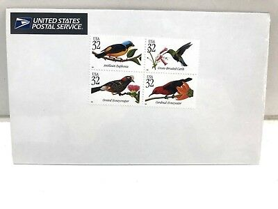 Tropical Birds Stamps MNH Se-Tenant USA Block of Four #445920 Full Color  NEW