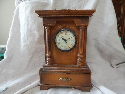 """Vintage Style Wooden Mantel Clock with Drawer 11"""""""