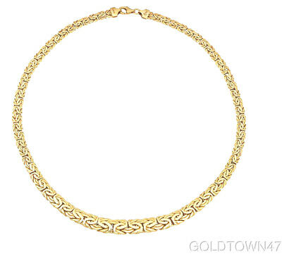 """14K Yellow Gold Graduated Byzantine Fancy Necklace with Lobster Clasp 17"""""""