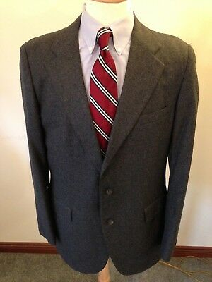 Men's Yale Co-Op Charcoal Gray Flannel 3/2 Roll Suit-42L (37Wx30L)-Trad Ivy
