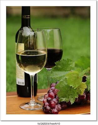 One Glass Of White Wine And Red Wine Art Print Home Decor Wall Art Poster - D