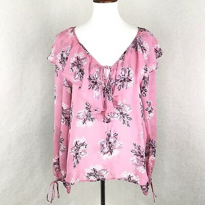 aec8984909f26c TOPSHOP Floral Ruffle Pompom Blouse Size 6 Womens Pink Long Sleeve Sheer NWT