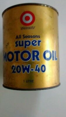 Target Brand  unopened tin. 1 Litre All Seasons Super Motor Oil 20W-40.