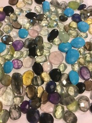 200 Carat Mix Lot Loose Faceted Natural Gemstones Slices Freeform Gems Wholesale