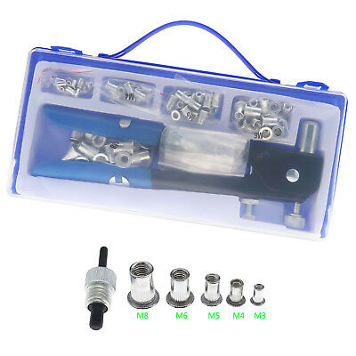 EZ M3-M8 Hand Nut Rivet Gun Riveter Rivnut Nutsert Kit Threaded Heavy Duty Tool