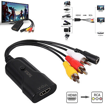 HDMI to RCA Cable Audio Video Converter for Roku Fire Stick PS3 DVD Xbox 1080P
