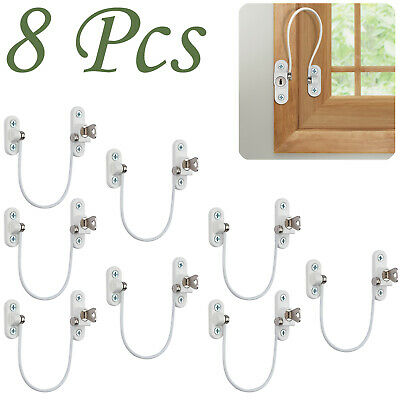 8PCS Window Door Restrictor Child Baby Safety Security Lock Cable Catch Wire NEW
