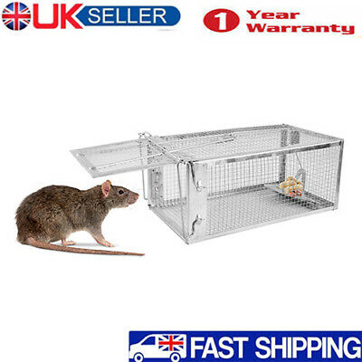 Indoor Outdoor Rat Catcher Spring Cage Trap Humane Large Animal Pet Rodent UK