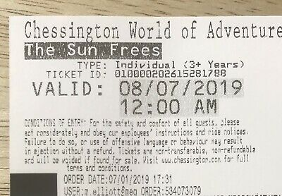 2x Tickets to Chessington World Of Adventures Resort , Monday 8th July 2019