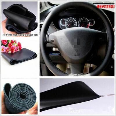 Car Steering Wheel Cover PU Leather 15''/38cm Black Car Parts Accessories