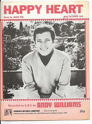 """Partition Sheetmusic 60's """"Happy heart"""" Andy Williams-Jackie Rae-James Last 1969"""