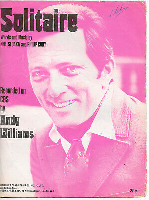 """Partition Sheetmusic 70's """"Solitaire"""" Andy Williams-Neil Sedaka-Philip Cody 1972"""