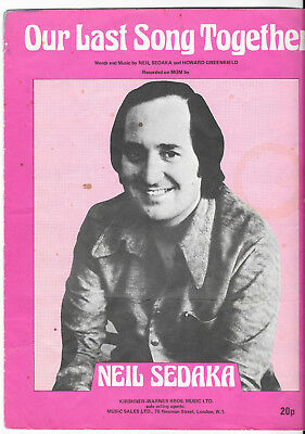 """Partition Sheetmusic """"Our last song together"""" Neil Sedaka-Howard Greenfield 1973"""