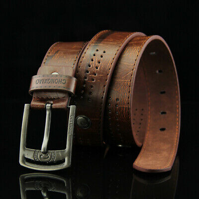 Genuine Leather Belt  Pin Buckle Mens Jeans Vintage Luxury Premium Waistband AU