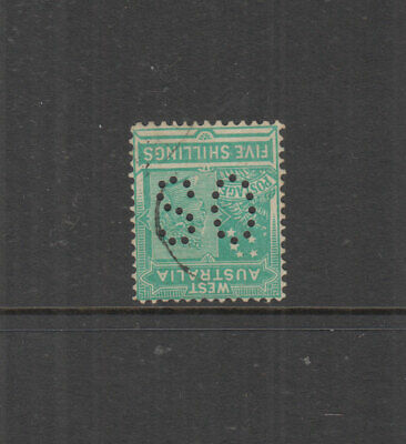 W A 1902 5/- Emerald QV -perf OS-Wmk V/Crown Inverted- SG126 Var Cat £50+ FU