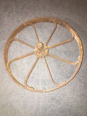 """6/""""//150MM Cast iron vintage old industrial AXLE WHEEL antique rustic iron"""