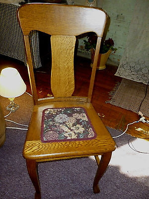 antique oak chair T- back single straight chair refinished reglued