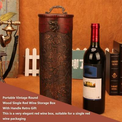 Portable Vintage Round Wood Single Red Wine Storage Box With Handle Retro Gift