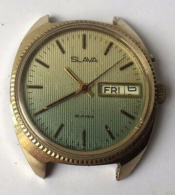 Vintage USSR SLAVA 28 Jewels Russian Wristwatch Gold Plated Working Retro