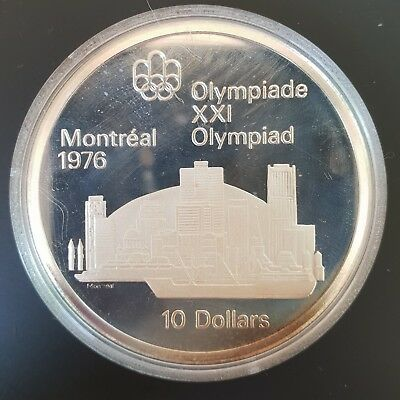 1973 Canada 10 Dollars Silver Proof Coin Montreal Olympics (Skyline)....