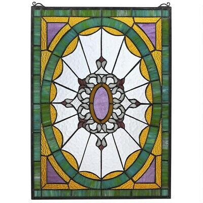"""25"""" x 18"""" Victorian Sunburst W/ Ribbons Tiffany style Stained glass Window Panel"""