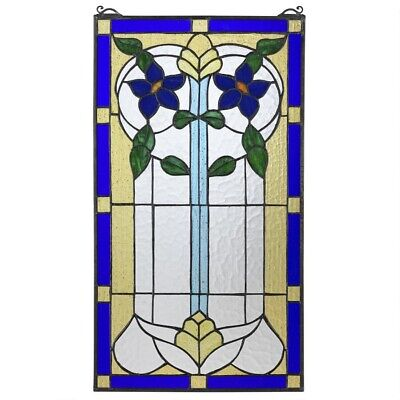 """24"""" Floreal Italian Art Nouveau floral Tiffany style Stained glass Window Panel"""