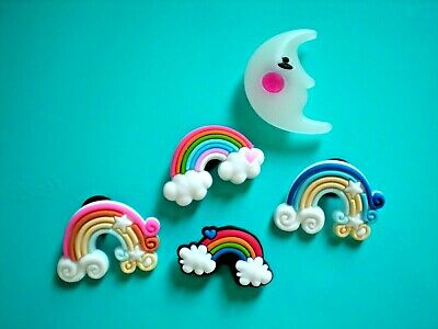 s Clog Shoe Plug Button Plug Charm Accessories Colorful Raninbow Moon