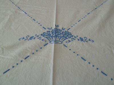 """Vintage Damask Tablecloth Blue Flowers on Off White Ivory Linen Antique 72x 68"""""""