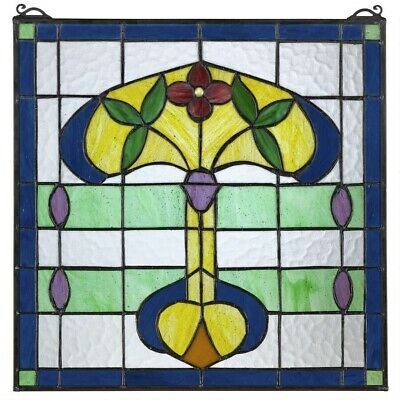"""17"""" x 17"""" Art Nouveau Royal Greenhouse Tiffany Style Stained Glass Window Panel"""
