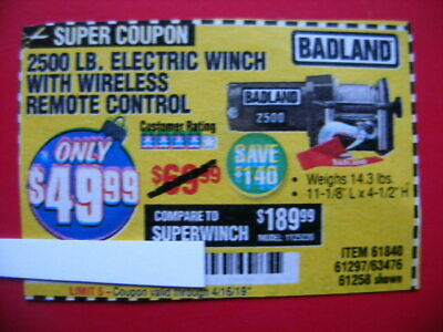 COUPON** HARBOR FREIGHT 2500 LB Electric Winch with Wireless