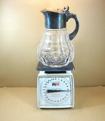 Antique Cut Glass Pitcher vintage with silver top & handle with 2 hallmarks