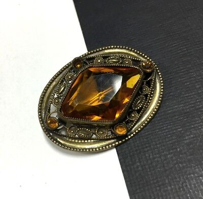 Beautiful Vintage ART DECO VICTORIAN Ornate Citrine Glass BRASS Brooch GG313i