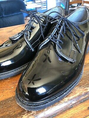3563a257c95 BATES Mens Formal Oxford Shoes Sz 7.5D Black Patent Uniform Lace Leather  Sole